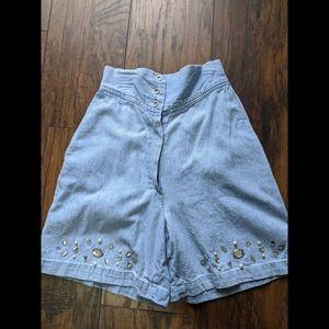 Vintage High Rise Embellished Mom Jean Shorts 80s